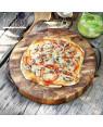 Wooden teak Pizza end grain board 'Cilantro' leather handles I Rico & Plato