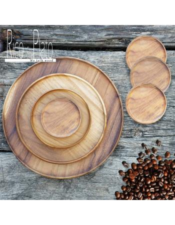Teak coffee tray set 'Jowo' (3 plate, 4 coasters)
