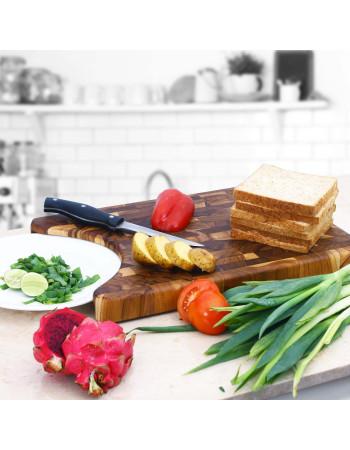 Teak End Grain Cutting Board with plate cut out -Basil- 45cm x 30cm