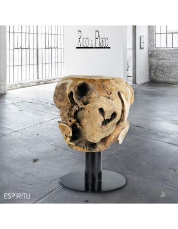 Teak stool 'Espiritu', with steel black leg