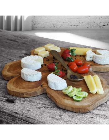 Teak wood slice serving board with spoon handle