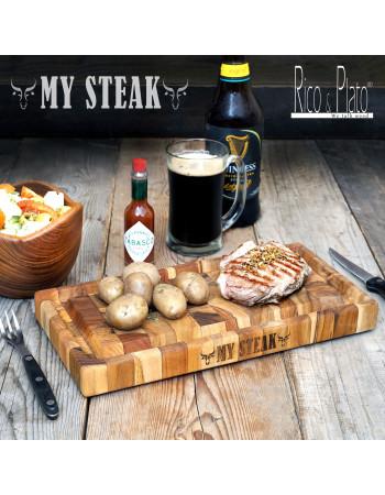 "Online Teak End Grain Cutting - chopping Board ''My Steak"" I Rico & Plato"