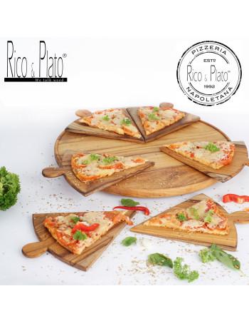 "Teak Serving Pizza Platter ''Napoletana"""