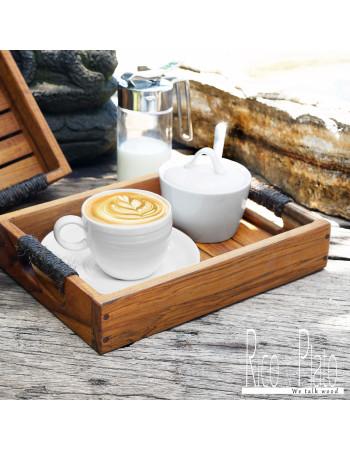 Online Teak coffee tray 'Le Matin' I Rico Plato.