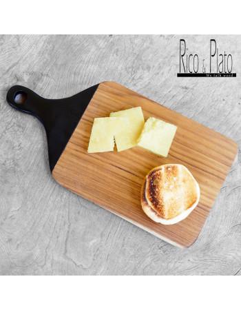 "Teak cutting board / serving platter ""Viola"" black handle"