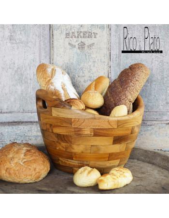 round teak wood bread basket | Rico & Plato