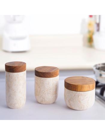 Set of 3 marble pots 'Nimes' I Rico & Plato