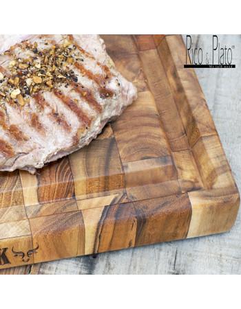 "Teak End Grain Cutting - chopping Board ''My Steak"" I Rico & Plato"