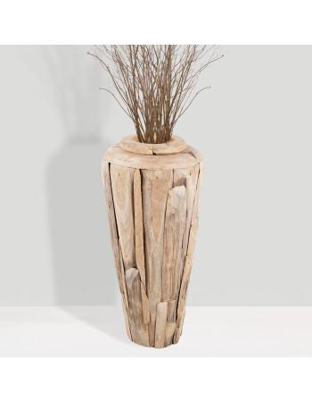 """Buy online teak planter vase """"Porto"""" medium I Rico  & Plato"""