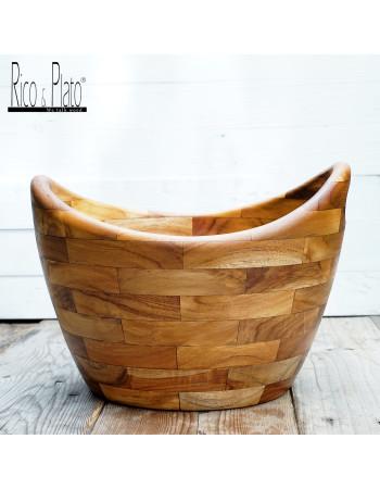 round teak bread basket | Rico & Plato