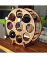 Round wine teak wood bottle holder, table model