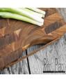 "Wood End Grain Cutting Board ""Masala"" with Leather Handle I Rico & Plato"
