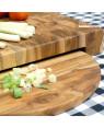 End Grain Teak wood Butcher Chopping Block with plate | Rico & Plato